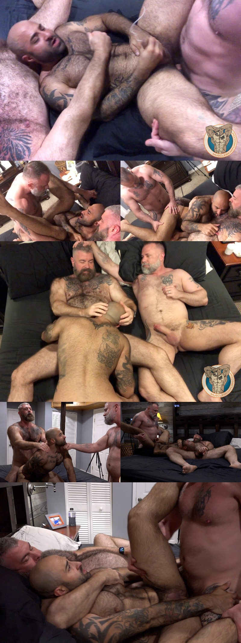 Muscle Bear Atlas Grant Gets Plugged by Two Daddies