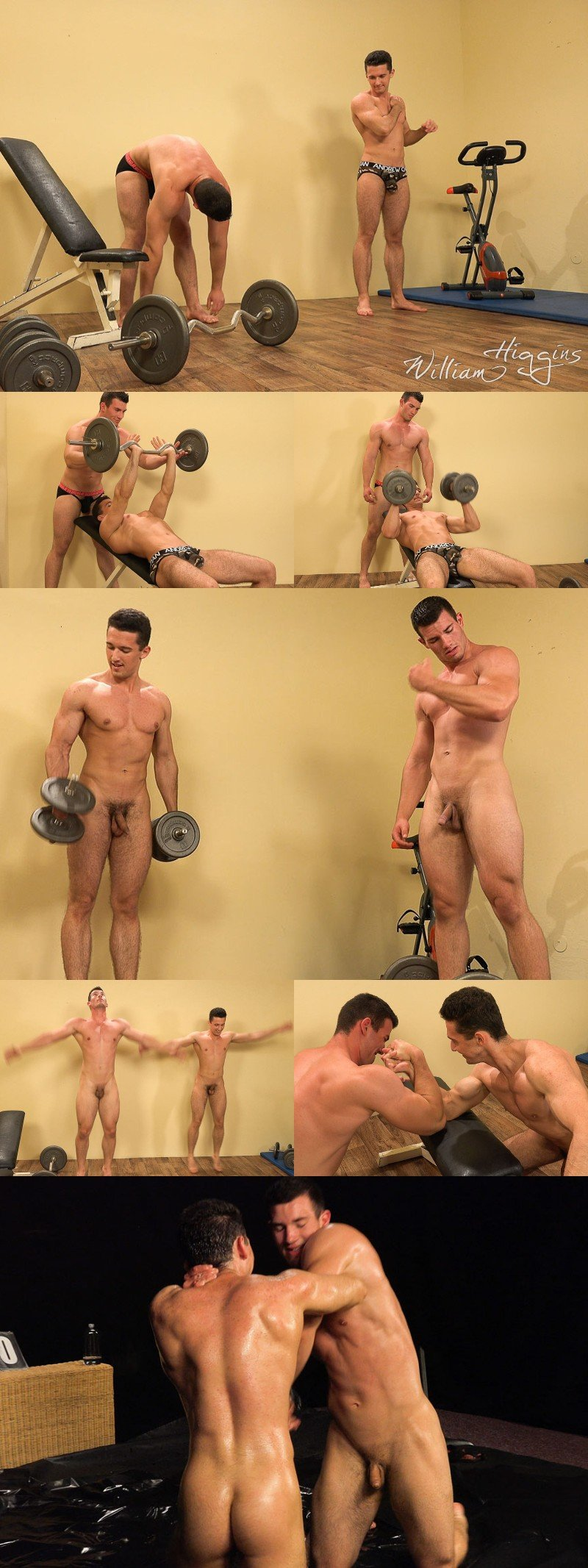 Czech Studs Lift Weights, Wrestle & Jack Off Together