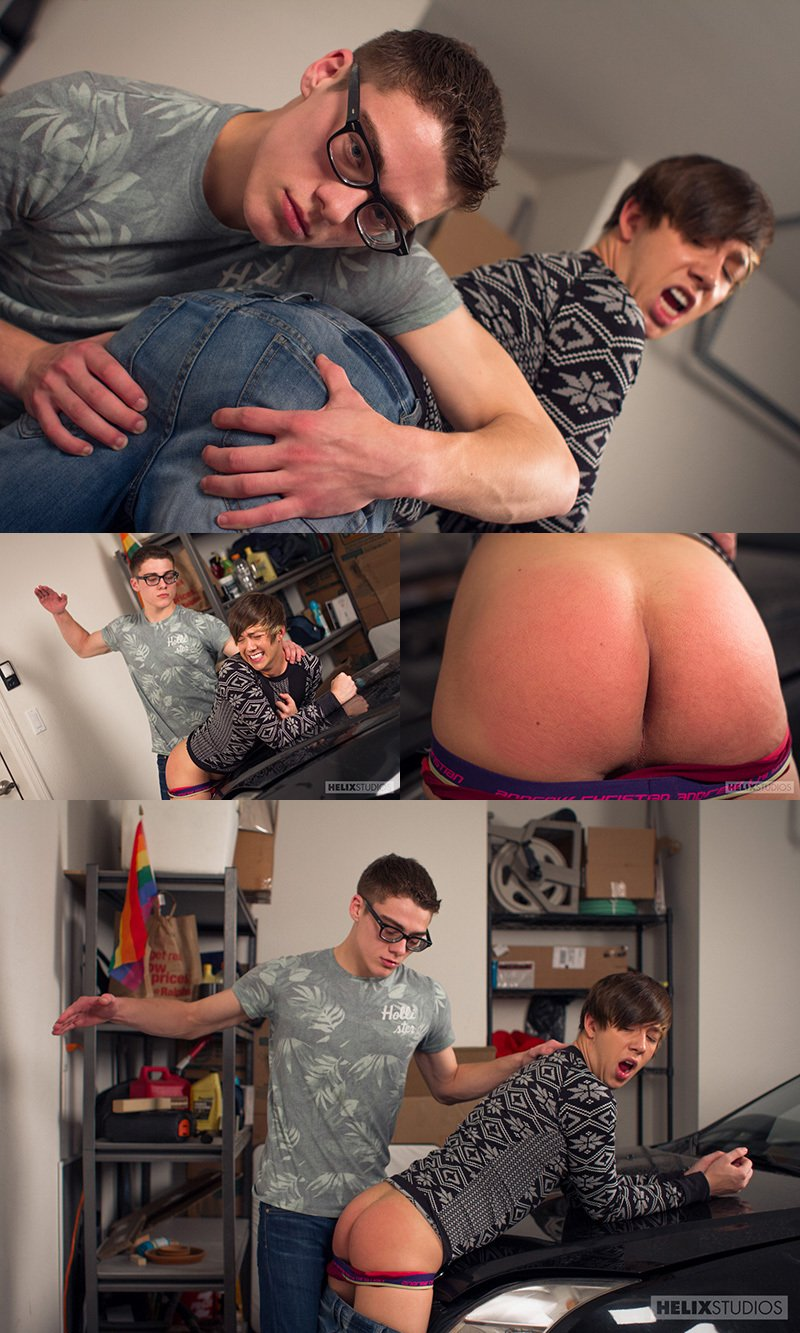 Luke Allen's Ass Gets Spanked Over The Hood
