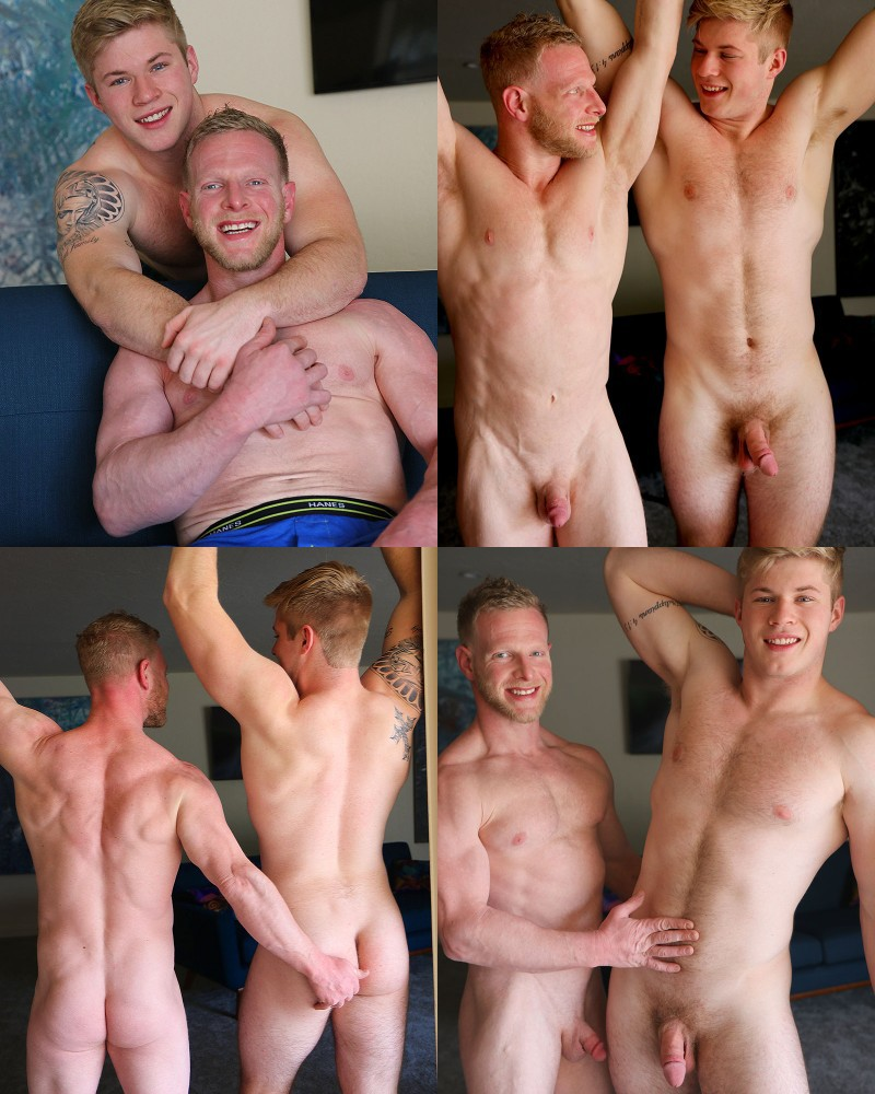 Blond Ripped Daddy Rick Randolph Fucks His First Guy on Gay Hoopla