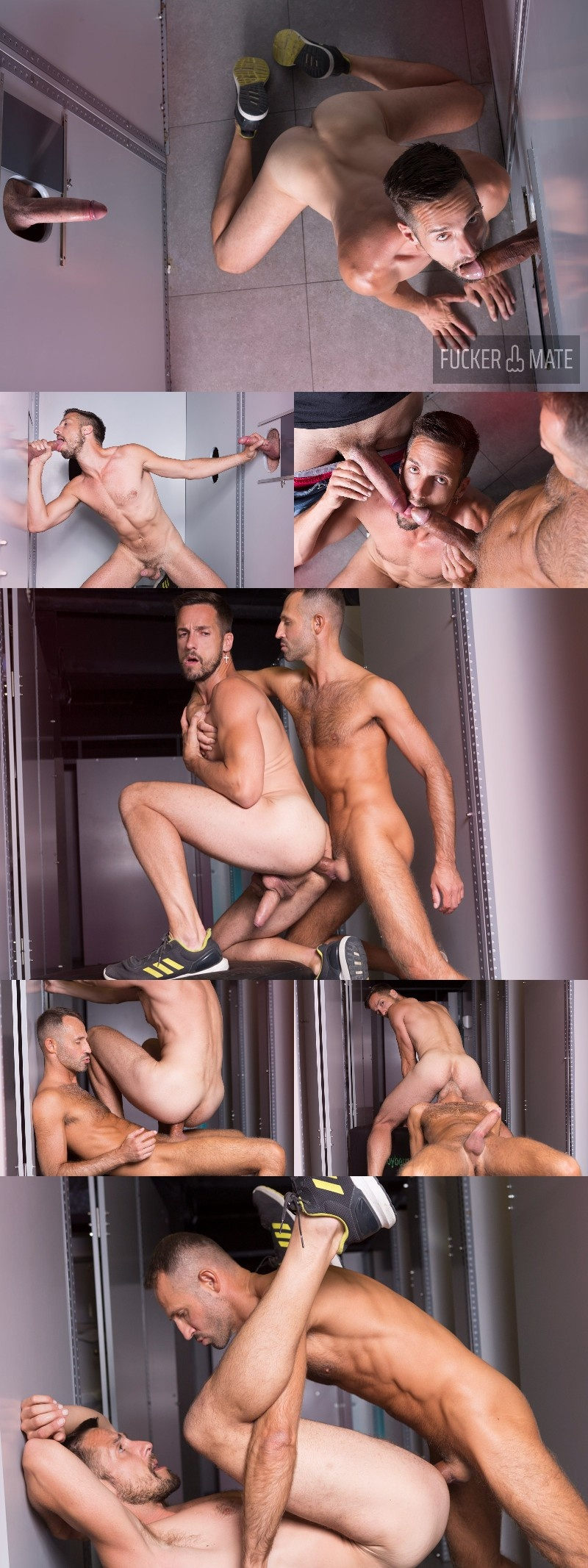 Cock Pig Services Two Giant Dicks at His Glory Hole on Cock4Cock