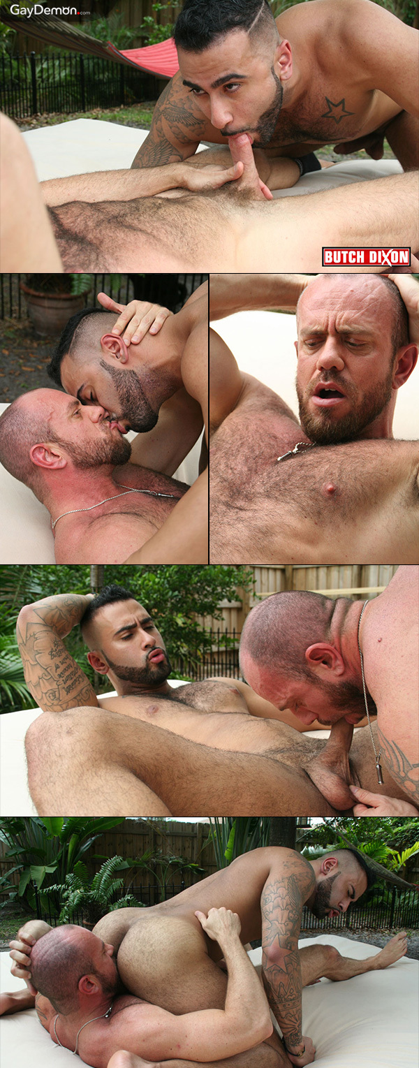 Hairy Men Fuck on Outdoor Bed