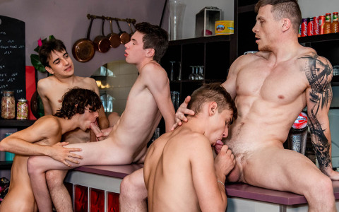 Restaurant Manager Gets a Four-Cum Facial from The Waiters & Cook