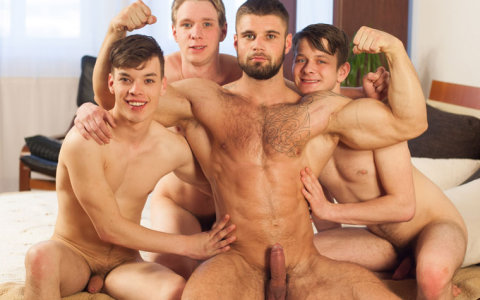 "Three Euro Boys Worship Hunky Bodybuilder in ""Wank Party 96"""