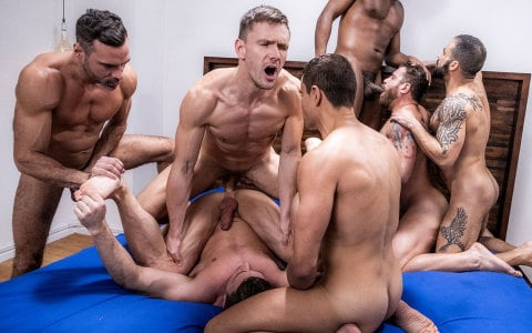 Seven-Man Gang Bang Ends With a Five-Minute Cum Sequence