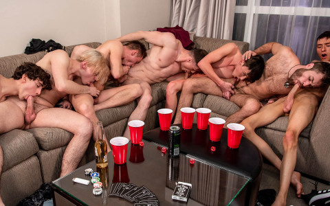 Four French & Three American Twinks Gang Bang in Sin City