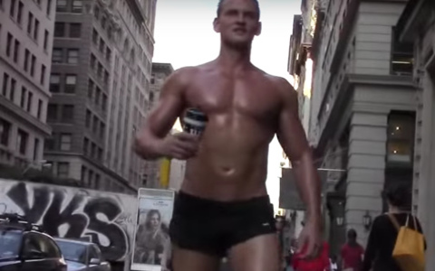 Guy Watching: Nearly Naked Muscle Man Parades Downtown