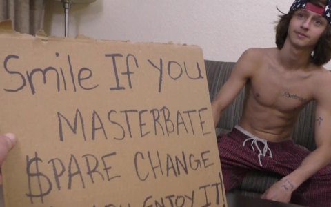 19-Year-Old Homeless Guy Jerks Off For Cash