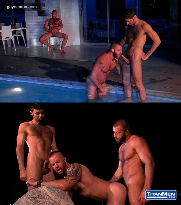 Justin King, Dorio Beck and Hunter Marx Fuck Poolside