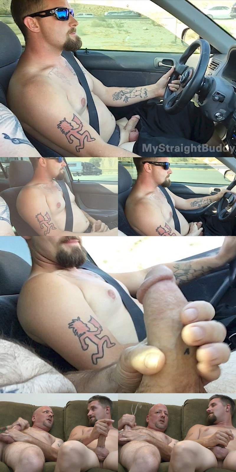 Two Buddies Driving Naked & Stroking Their Dicks