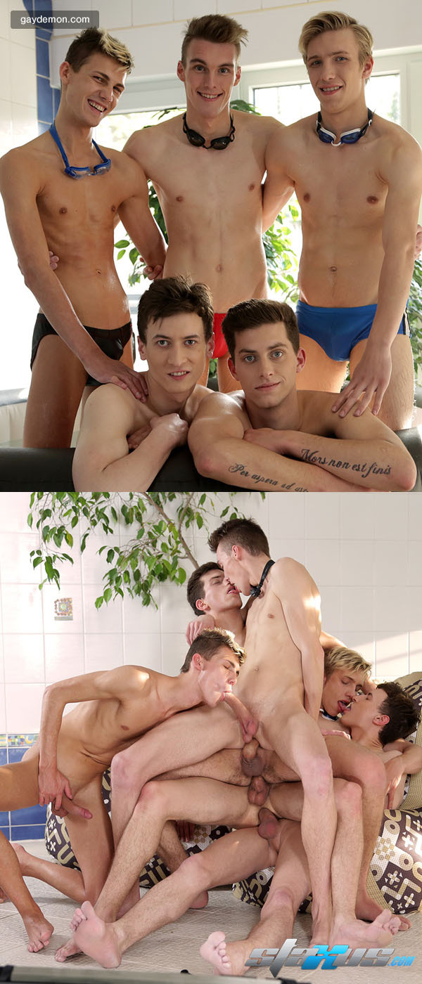 Big-dicked Twinks In A Five-way Bareback Gang Bang