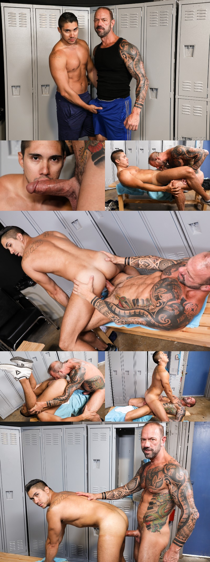 Adrian Suarez Rides Vic Rocco's Fat Cock in the Locker Room