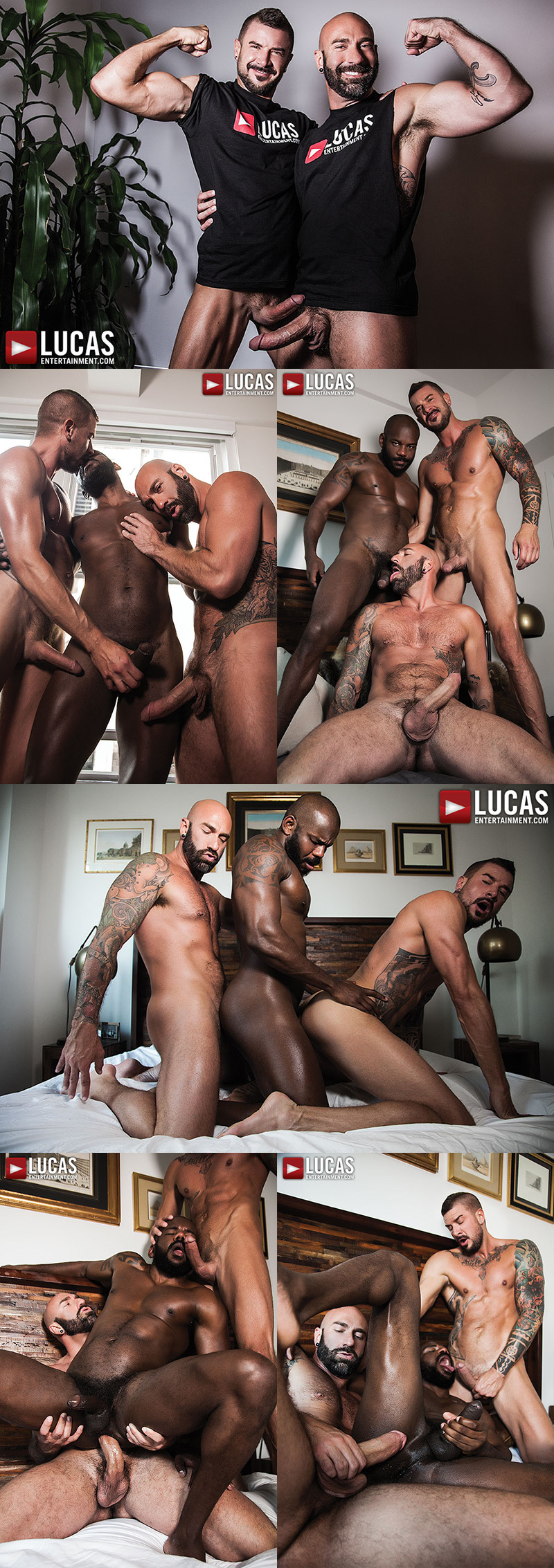 Interracial Bareback Threesome at Lucas Entertainment