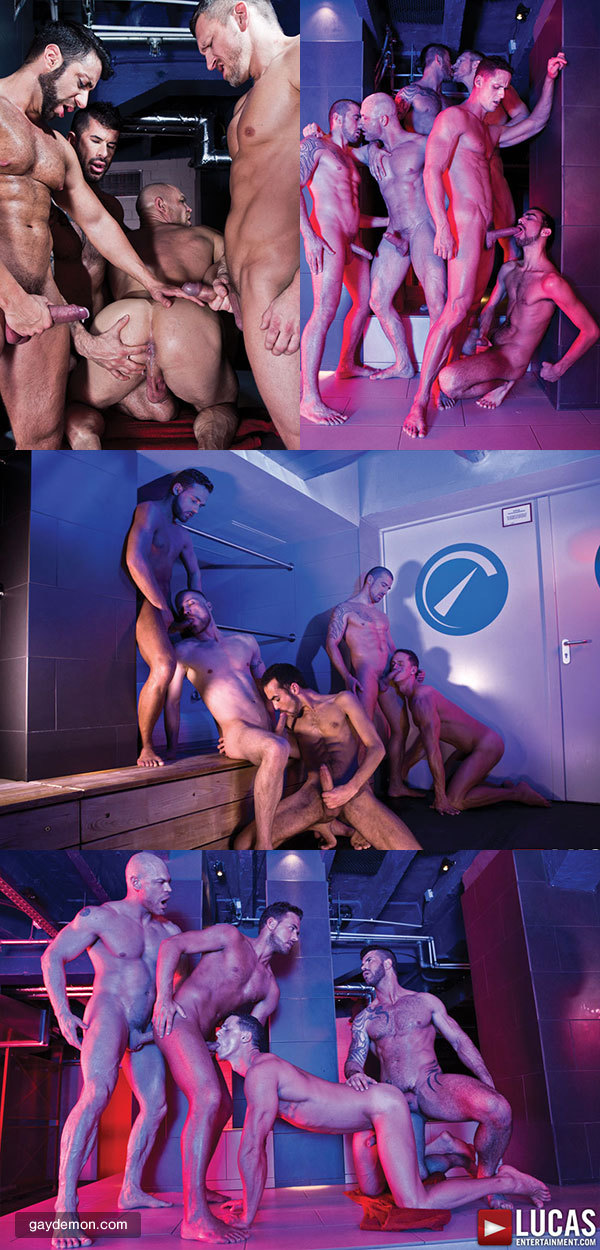 9-Man Bareback Orgy in a German Bathhouse