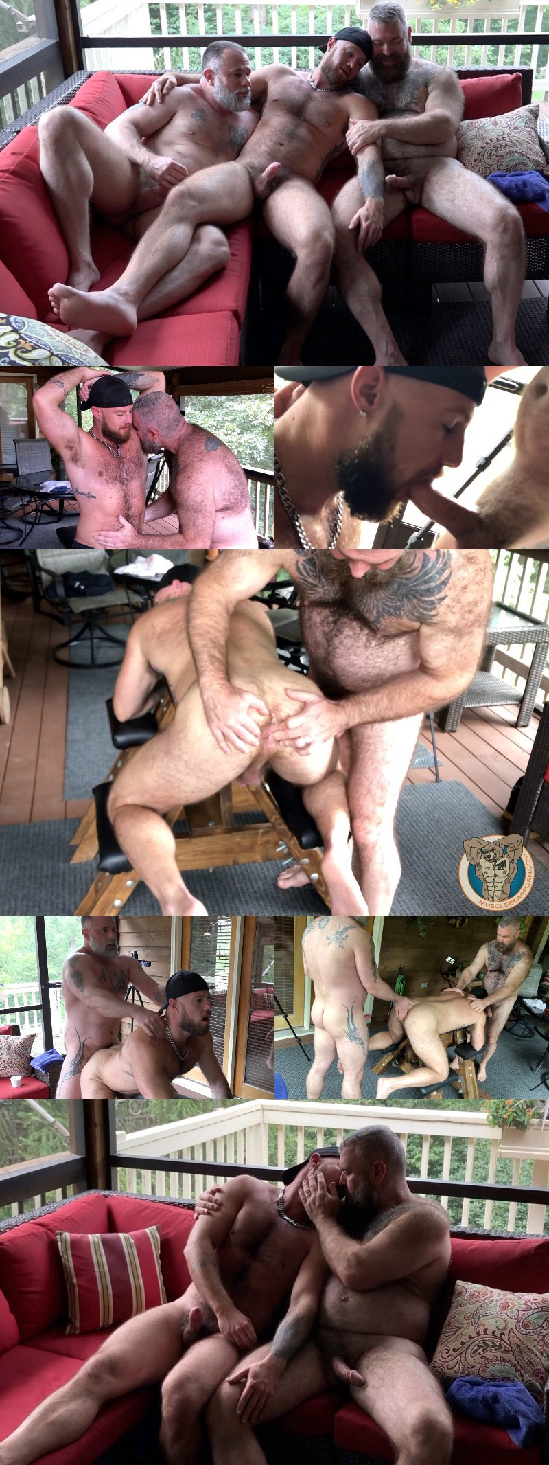 Couple of Daddy Bears Fill Muscle Cub's Hairy Ass with Two Loads of Jizz