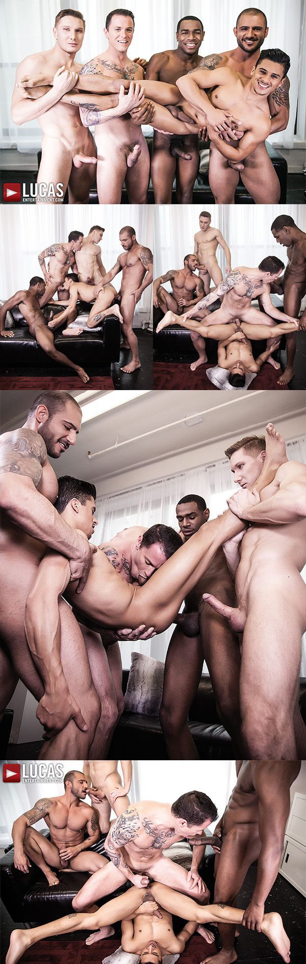 Magic Wood Debuts His Monster Cock in 5-Man Gang Bang