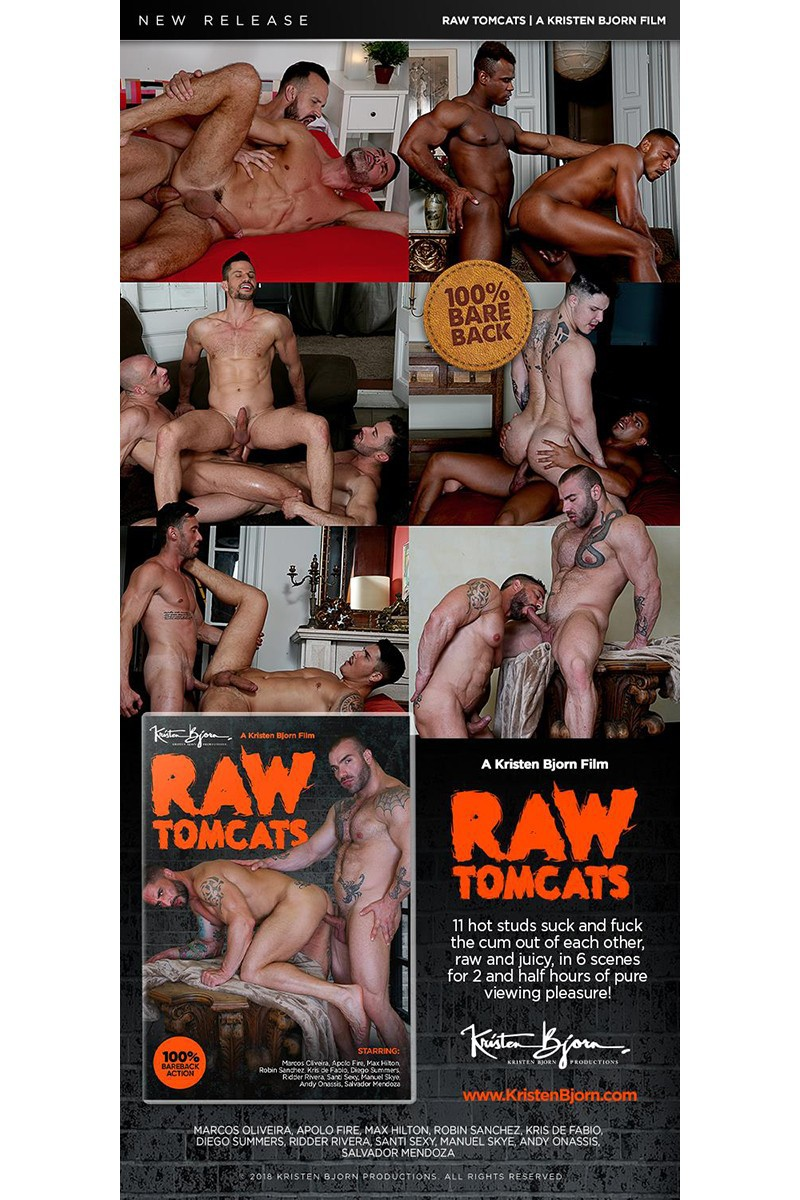 """""""Raw Tomcats"""" Debuts from Kristen Bjorn & Includes a Double-Penetration Scene"""