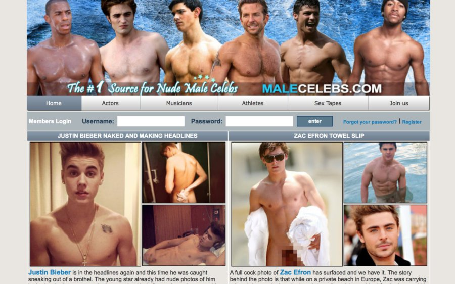 Male Celebs tour page screenshot
