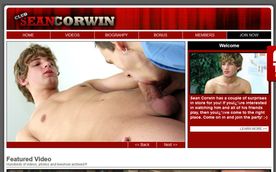 Club Sean Corwin tour page screenshot