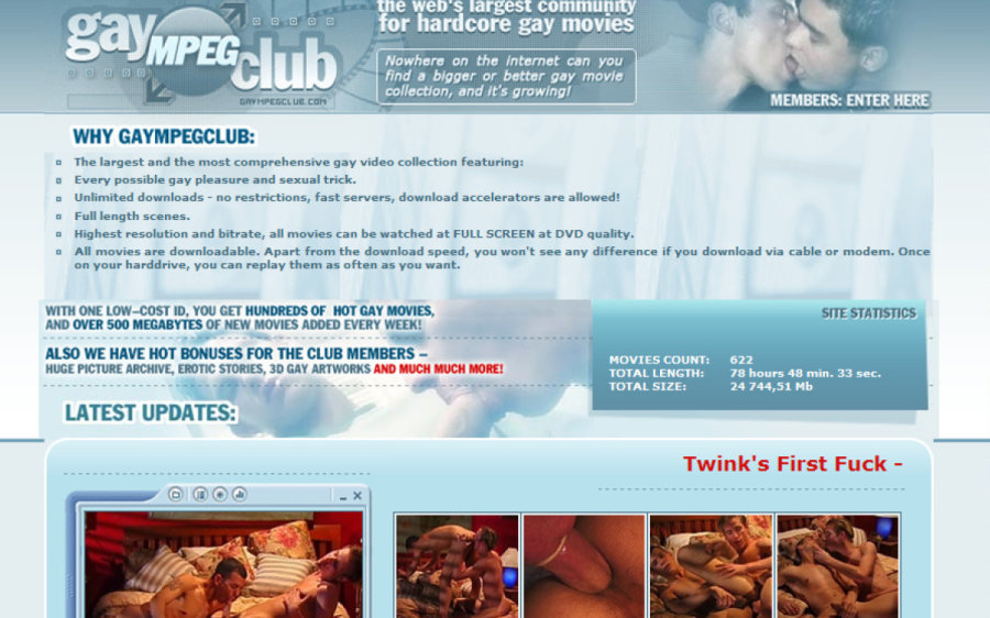 Gay Mpeg Club tour page screenshot
