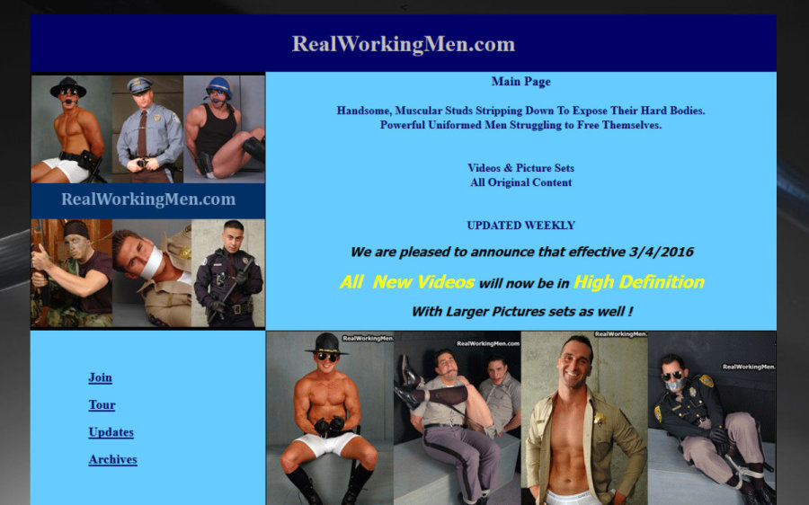 Real Working Men tour page screenshot