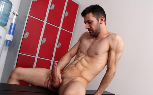 Hot Muscle Jock Nathan Raider Jerks Off In The Locker Room