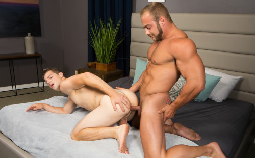 Robbie gets barebacked by big muscle man Brock at Sean Cody