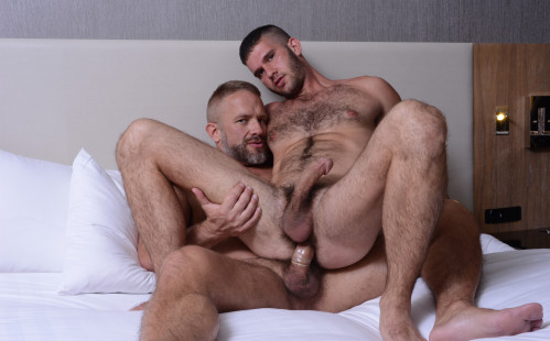 "Jimmy Fanz rides Dirk Caber's cock in ""Daddy Hunt"""