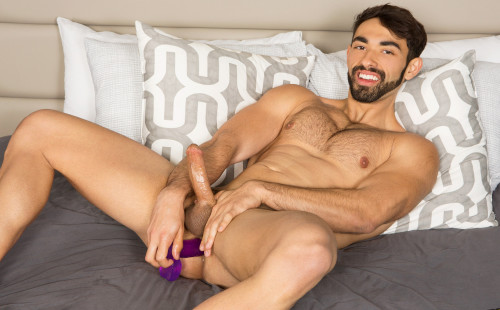 Gideon jerks off his cock & fucks himself with a big dildo