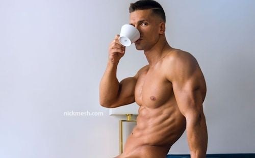 Fitness model Iron Stanly having his morning coffee