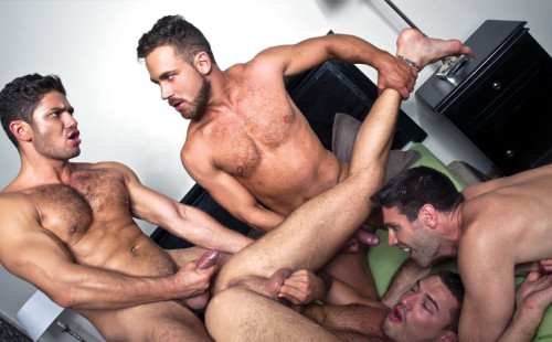 Logan Moore gets double fucked by Dato Foland & Theo Ford