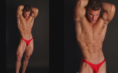 A Gorgeous Muscle Stud Alex Poses In Red Speedos