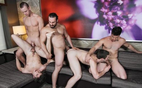 Five Hot Muscled Guys Suck and Fuck