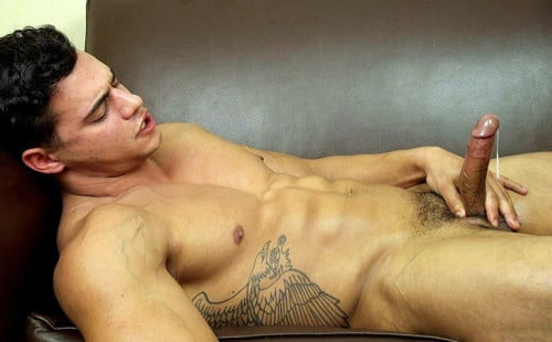 Hot muscular Latino Ricky bust a nut!