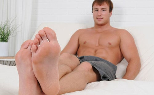 Barefoot Hunk Showing Off His Sexy Feet